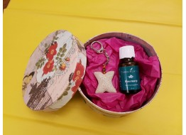 Rosemary Essential Oil With Lava Stone Key Chain Gift Pack