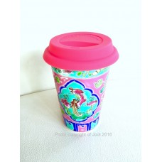 Peranakan Starbucks Cup – multi colored with a lid